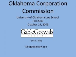 Oklahoma Corporation Commission University of Oklahoma Law School