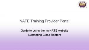 NATE Training Provider Portal Guide to using the