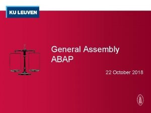 General Assembly ABAP 22 October 2018 General Meeting