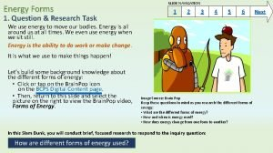 Energy Forms 1 Question Research Task SLIDE NAVIGATION