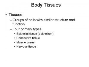 Body Tissues Tissues Groups of cells with similar