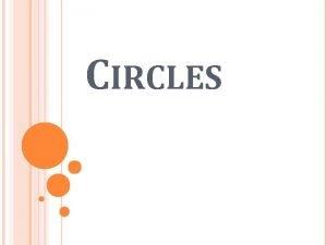 CIRCLES CIRCLES Circle a set of points equidistant