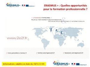 ERASMUS Quelles opportunits pour la formation professionnelle Informations