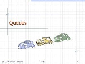 Queues 2004 Goodrich Tamassia Queues 1 The Queue