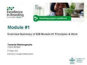 Module 1 Overview Summary of Ei B Module