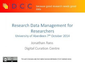 because good research needs good data Research Data