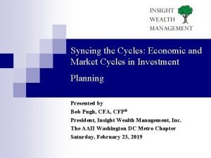 Syncing the Cycles Economic and Market Cycles in