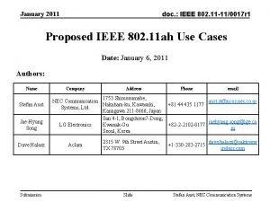 January 2011 doc IEEE 802 11 110017 r