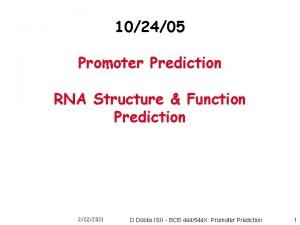 102405 Promoter Prediction RNA Structure Function Prediction 2222021