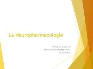 La Neuropharmacologie Ralis par Dr slimani Prsent par