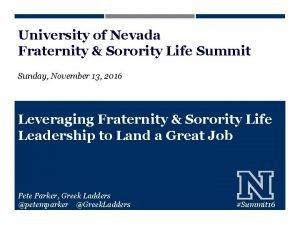 University of Nevada Fraternity Sorority Life Summit Sunday