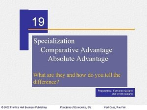 CHAPTER 19 Specialization Comparative Advantage Absolute Advantage What