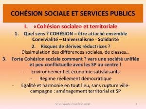 COHSION SOCIALE ET SERVICES PUBLICS I Cohsion sociale