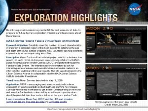 Week of 05252010 Robotic exploration missions provide NASA