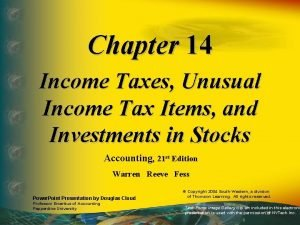 Chapter 14 Income Taxes Unusual Income Tax Items