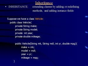 Inheritance INHERITANCE extending classes by adding or redefining