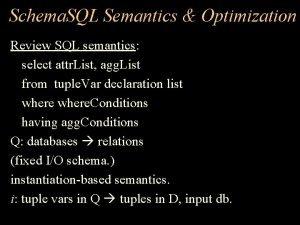 Schema SQL Semantics Optimization Review SQL semantics select
