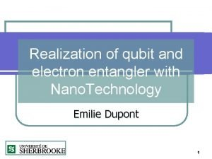 Realization of qubit and electron entangler with Nano