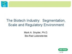 The Biotech Industry Segmentation Scale and Regulatory Environment