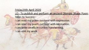 Friday 24 th April 2020 LO To publish