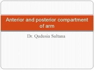 Anterior and posterior compartment of arm Dr Qudusia