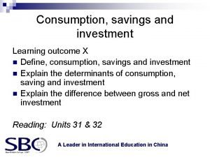 Consumption savings and investment Learning outcome X n