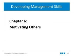 Developing Management Skills Chapter 6 Motivating Others Copyright