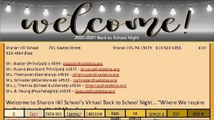 Sharon Hill School 522 4364 fax 701 Coates