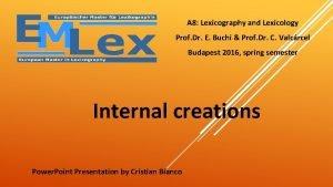 A 8 Lexicography and Lexicology Prof Dr E