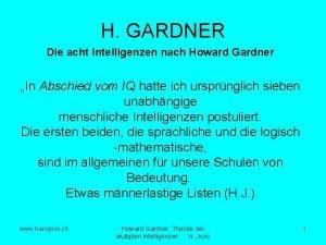 H GARDNER Die acht Intelligenzen nach Howard Gardner