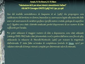 Amato B De Simoni R Di Maro Valutazione