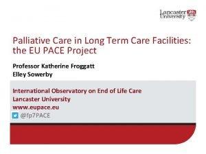 Palliative Care in Long Term Care Facilities the
