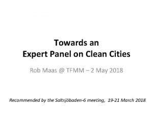 Towards an Expert Panel on Clean Cities Rob
