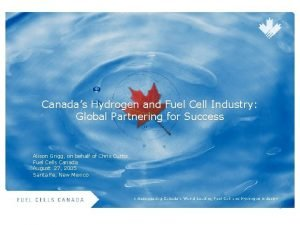 Canadas Hydrogen and Fuel Cell Industry Global Partnering