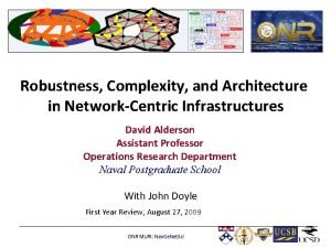 Robustness Complexity and Architecture in NetworkCentric Infrastructures David