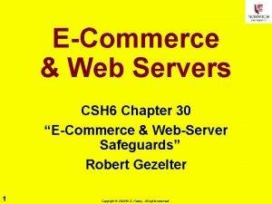 ECommerce Web Servers CSH 6 Chapter 30 ECommerce