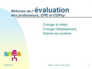 valuation Rforme de l des professeurs CPE et