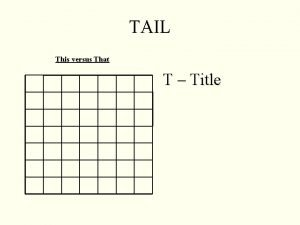 TAIL This versus That T Title TAIL Decide