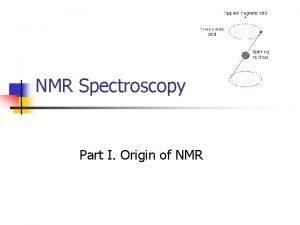 NMR Spectroscopy Part I Origin of NMR Nuclei