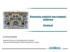 Bioenergia megjul nyersanyagok zldkmia bioetanol Dr Rczey Istvnn