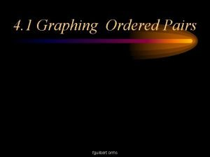 4 1 Graphing Ordered Pairs fguilbert orrhs Ordered