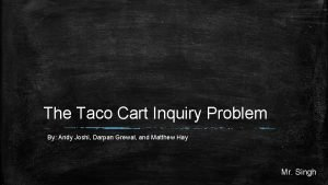 The Taco Cart Inquiry Problem By Andy Joshi