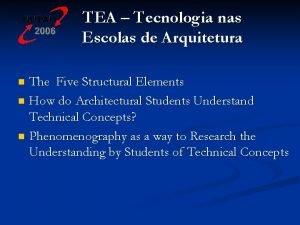 TEA Tecnologia nas Escolas de Arquitetura The Five
