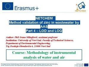 NETCHEM Method validation of zinc in wastewater by