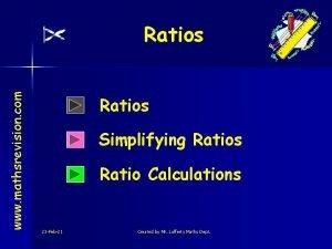 www mathsrevision com Ratios Simplifying Ratios Ratio Calculations