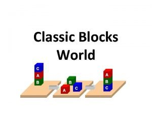 Classic Blocks World Classic Blocks World Well look