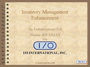 Inventory Management Enhancement An Enhancement For i Series