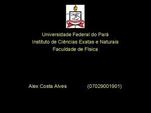Universidade Federal do Par Instituto de Cincias Exatas