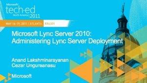 EXL 321 Planning Lync 2010 Planning tool Planning