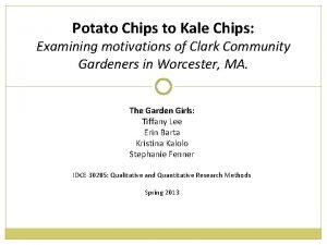 Potato Chips to Kale Chips Examining motivations of